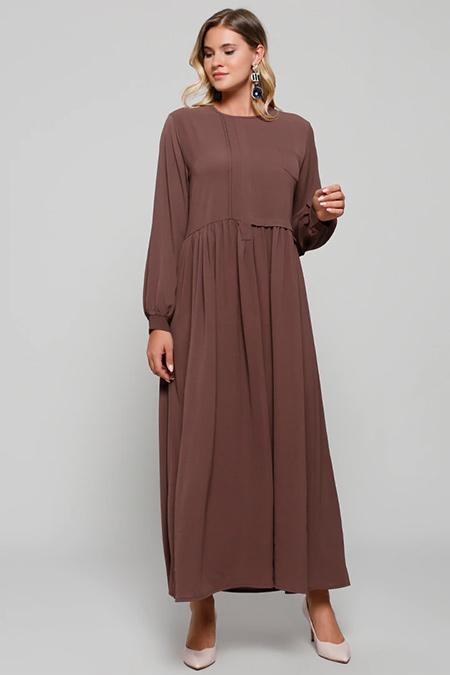 Alia Kahve Cep Detaylı Elbise