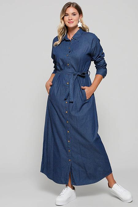 Alia Lacivert Doğal Kumaşlı Boydan Düğmeli Kot Elbise