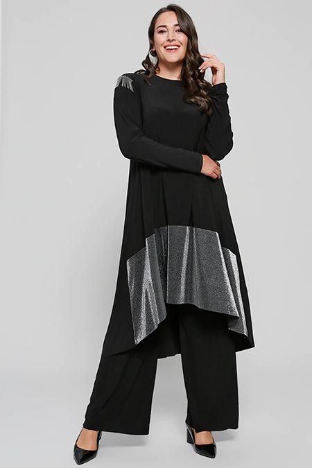 Alia Siyah Bol Paça Pantolon