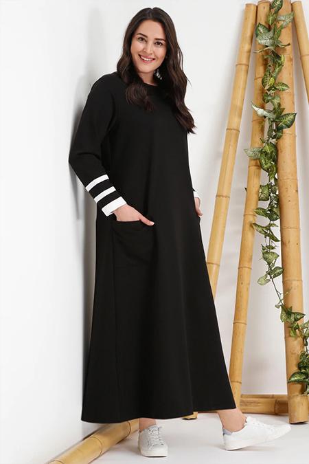 Alia Siyah Kolları Garnili Elbise