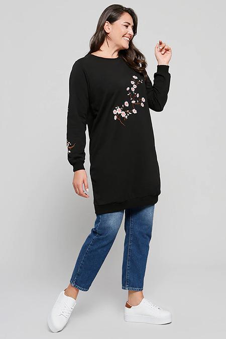 Alia Siyah Nakış İşlemeli Tunik