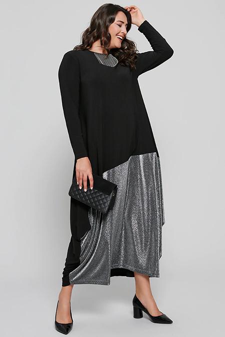 Alia Siyah Sim Detaylı Abiye Elbise