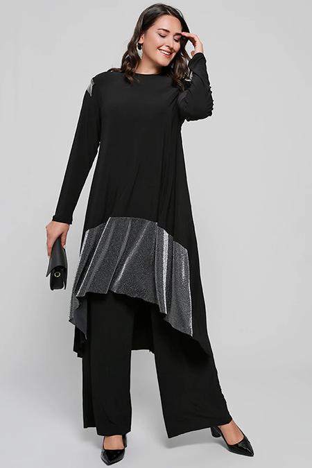 Alia Siyah Sim Detaylı Tunik