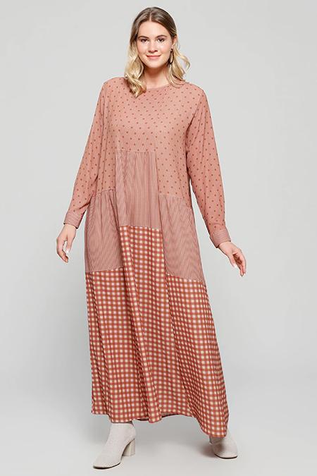 Alia Taba Bej Desenli Elbise
