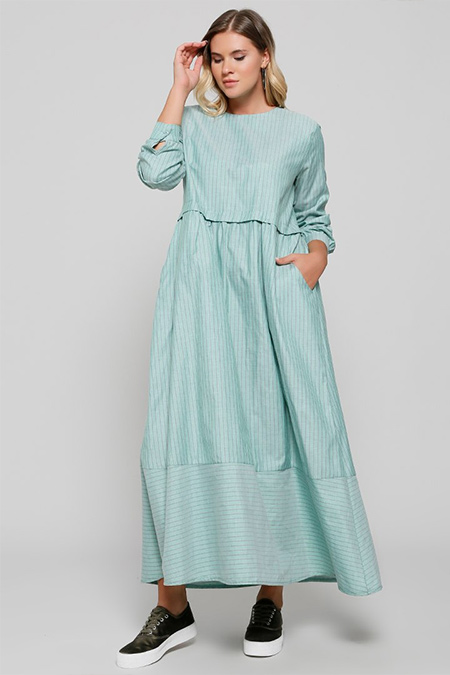 Alia Yeşil Cep Detaylı Pamuklu Elbise