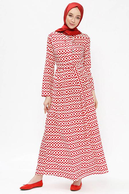 Almera Kırmızı Desenli Elbise