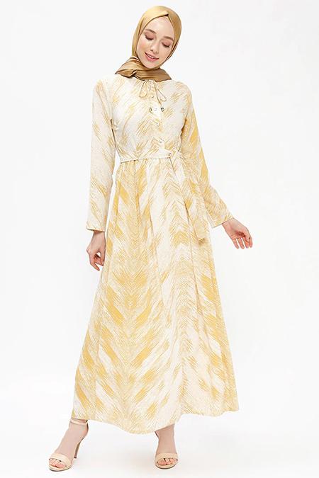 Almera Sarı Desenli Elbise