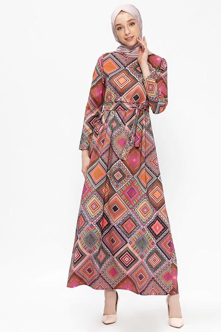 Almera Taba Desenli Elbise