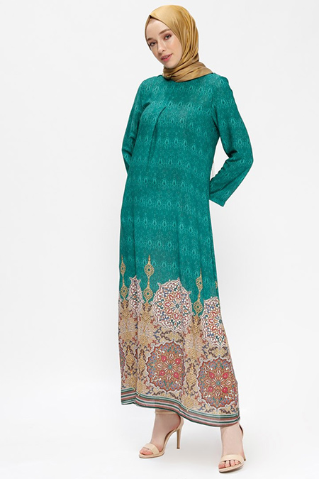 Almera Yeşil A Pile Detaylı Elbise