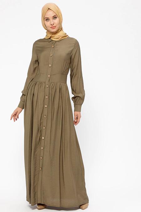 BÜRÜN Haki Boydan Düğmeli Elbise
