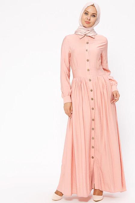 BÜRÜN Pembe Boydan Düğmeli Elbise