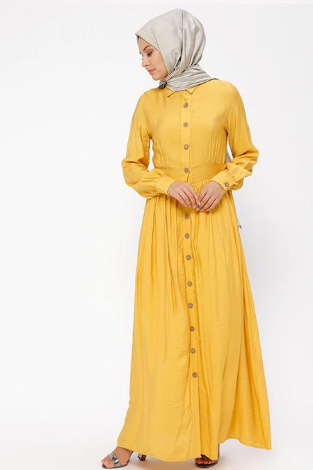 BÜRÜN Sarı Boydan Düğmeli Elbise