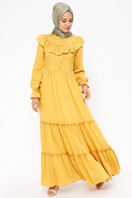 BÜRÜN Sarı Fırfır Detaylı Elbise