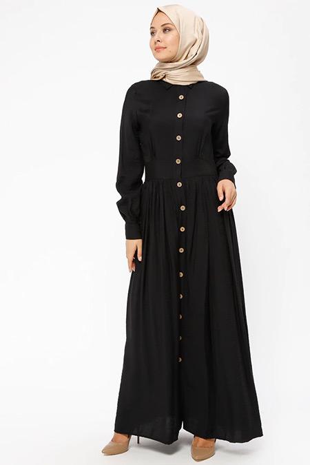 BÜRÜN Siyah Boydan Düğmeli Elbise