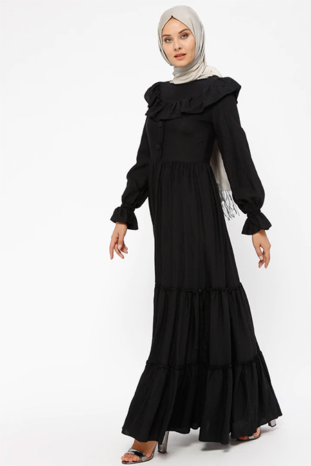 BÜRÜN Siyah Fırfır Detaylı Elbise