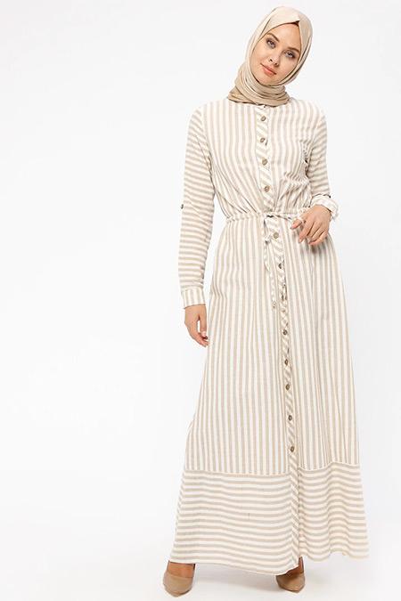 BÜRÜN Vizon Boydan Düğmeli Elbise