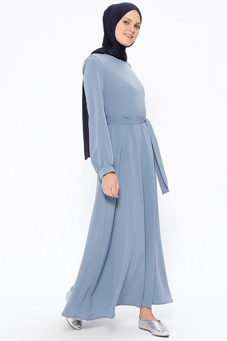 Beha Tesettür Açık İndigo Kuşaklı Elbise