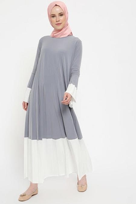 Beha Tesettür Gri Piliseli Elbise