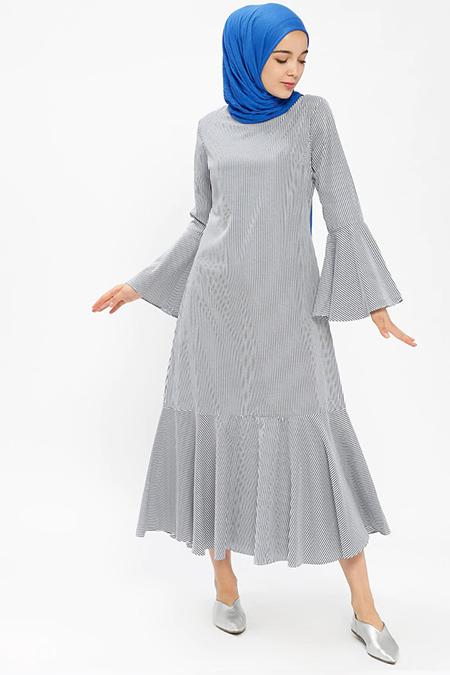 Beha Tesettür Lacivert Çizgili Elbise