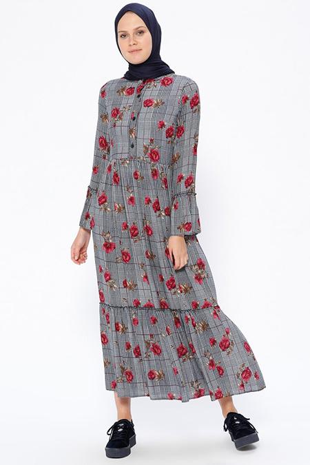 Beha Tesettür Lacivert Desenli Elbise