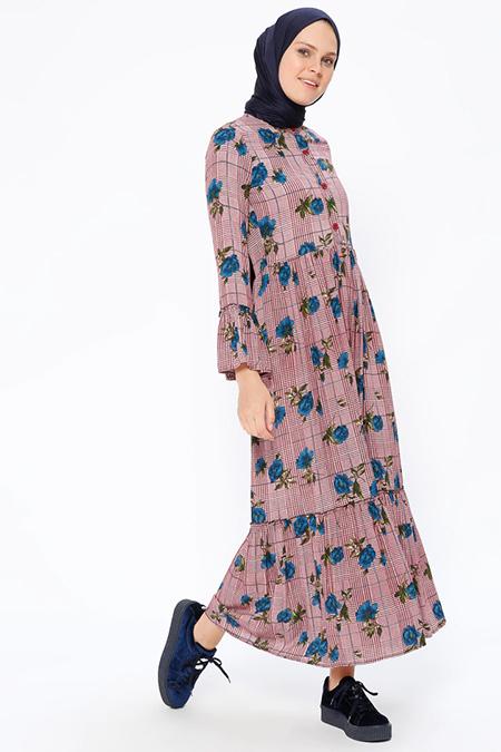 Beha Tesettür Mürdüm Desenli Elbise