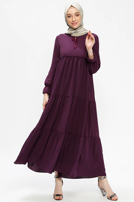 Beha Tesettür Mor Fırfırlı Elbise