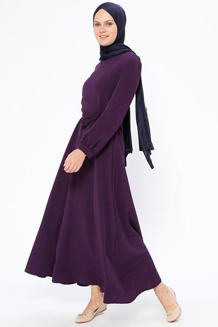 Beha Tesettür Mor Kuşaklı Elbise