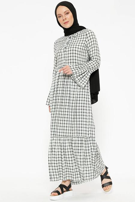 Beha Tesettür Siyah Çağla Ekoseli Elbise