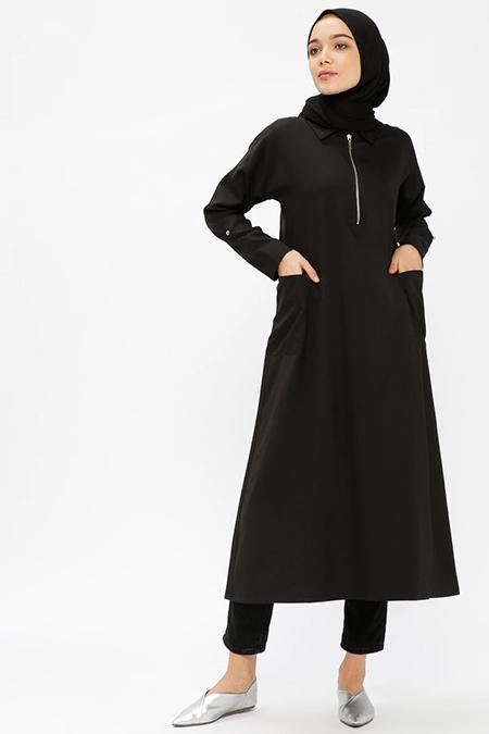 Beha Tesettür Siyah Cep Detaylı Tunik