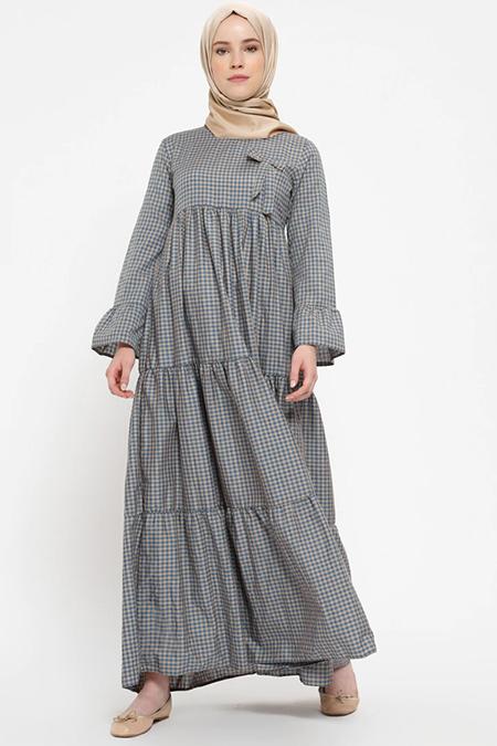 Beha Tesettür Vizon Pötikareli Elbise