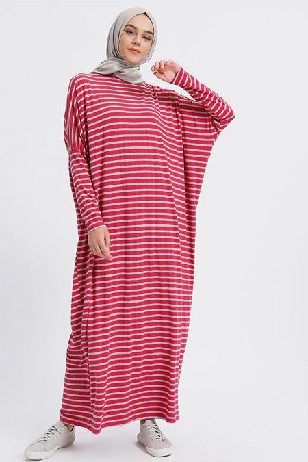 Benin Fuşya Doğal Kumaşlı Çizgili Elbise