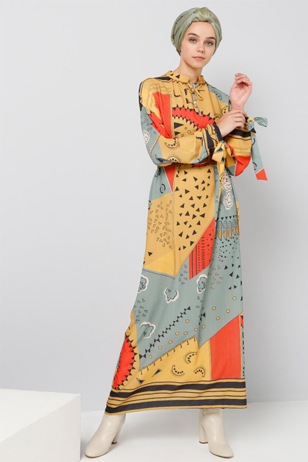 Benin Hardal Desenli Elbise