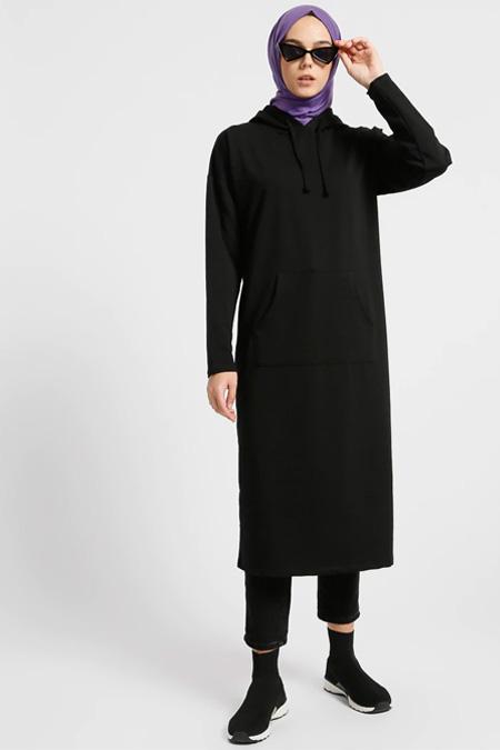 Everyday Basic Siyah Kapüşonlu Tunik
