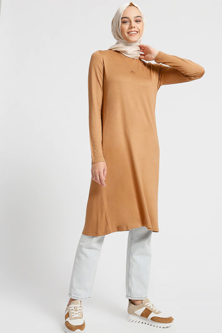 Everyday Basic Taba Doğal Kumaştan Ara Boy Basic Tunik