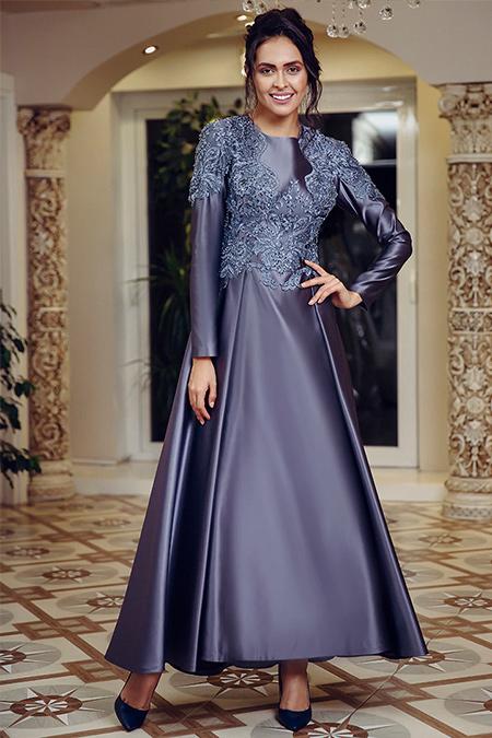 FMK by Tuay Karaca Antrasit İki Pileli Dantel Detaylı Abiye Elbise