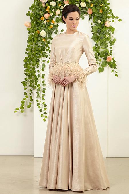 FMK by Tuay Karaca Gold Beli Ve Kolları Tüy Detaylı Elbise
