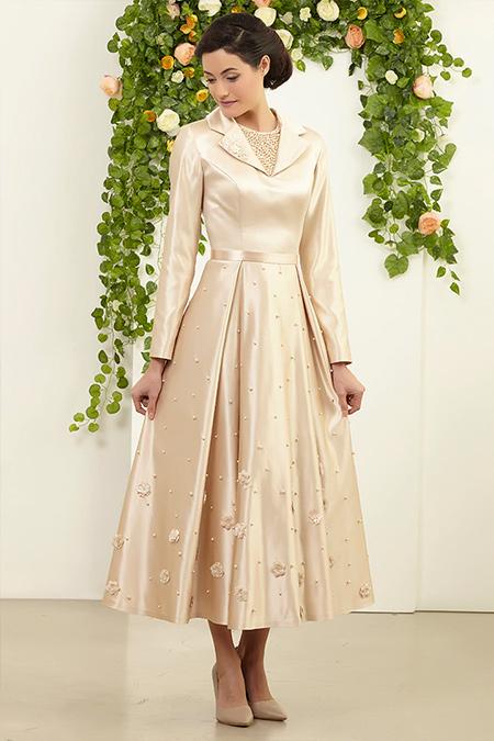 FMK by Tuay Karaca Gold Ceket Yakalı Etek İnci Detaylı Elbise