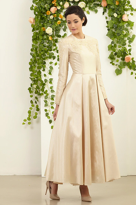 FMK by Tuay Karaca Gold Dantel Detaylı Elbise