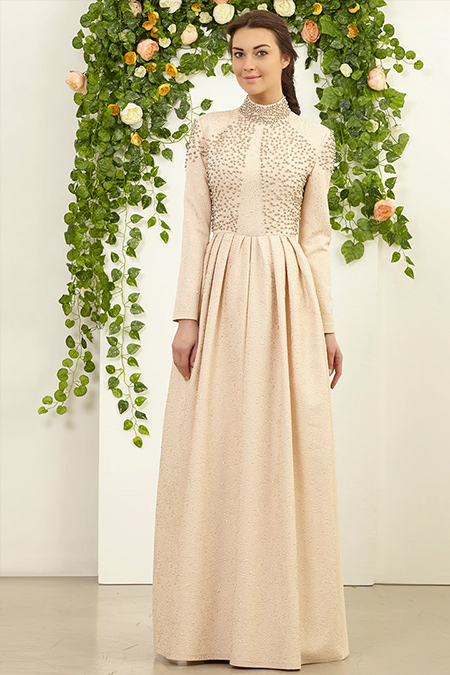 FMK by Tuay Karaca Pudra Üst İnci Detaylı Brokar Elbise