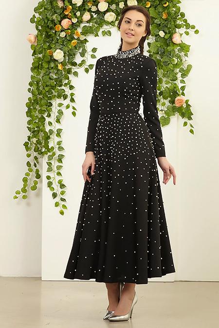 FMK by Tuay Karaca Siyah İnci Detaylı Elbise