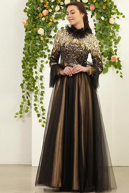 FMK by Tuay Karaca Siyah Yaka Ve Kolları Tüy Detaylı Elbise