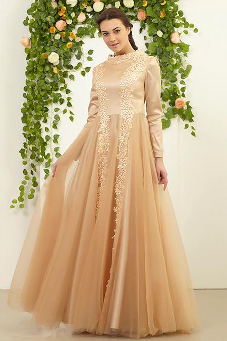FMK by Tuay Karaca Somon Yaprak Detaylı Altı Tül Abiye Elbise