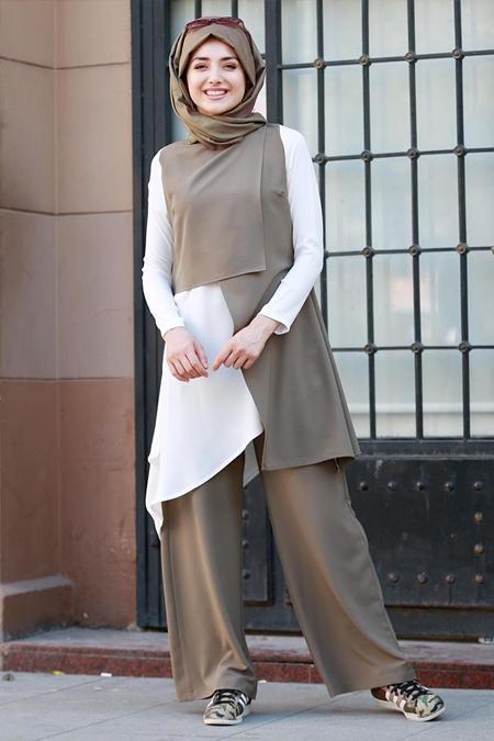 Gamze Özkul Haki Tunik&Pantolon İkili Takım