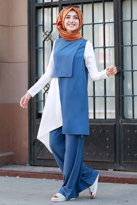 Gamze Özkul Mavi Tunik&Pantolon İkili Takım