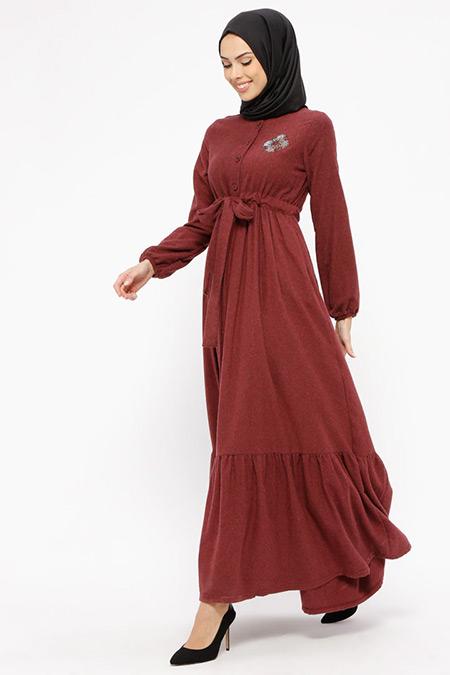 Ginezza Bordo Drop Baskılı Düğmeli Elbise