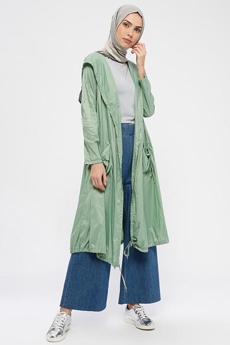 Ginezza Mint Yeşili Kapüşonlu Yağmurluk
