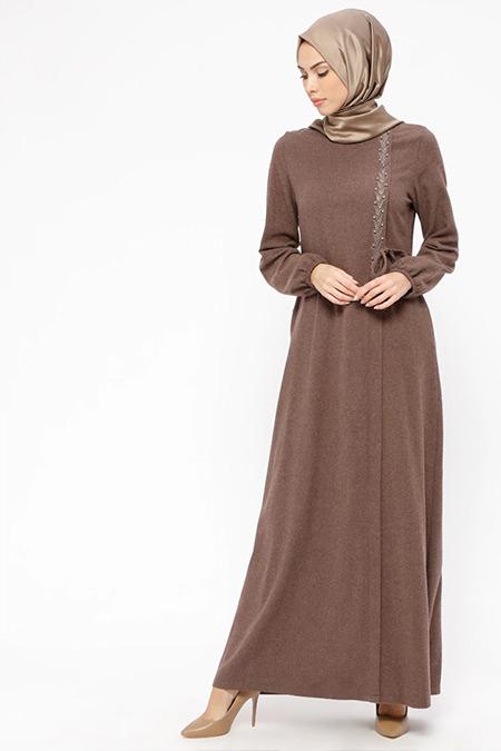Ginezza Vizon İnci Detaylı Elbise