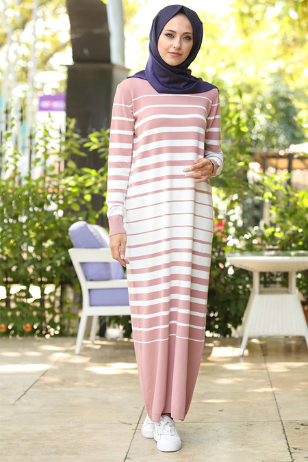 İnşirah Pudra Çizgili Elbise