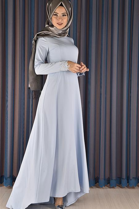 Modamerve Bebe Mavi Taş Baskılı Abiye Elbise