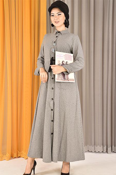 Modamerve Gri Çift Cepli Puanlı Elbise